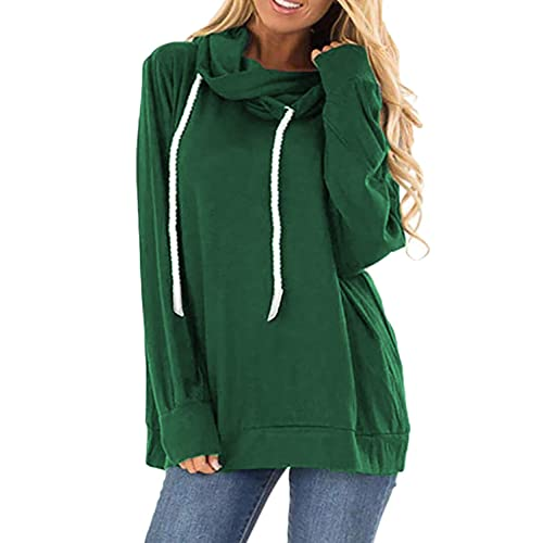 YeMgSiP Womens Sweatshirts Cowl Neck Pullover Long Sleeve Casual Tunic Tops with Pockets