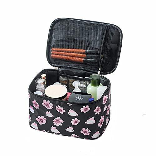 15ed43710d5e HOYOFO Women Portable Travel Cosmetic Bags with Mesh Pocket Make Up Bags,  Black Flower