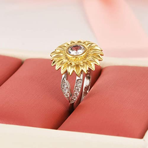 018427774f432 Buy DALARAN Sunflower Cubic Zirconia Ring with Side Stone Copper ...