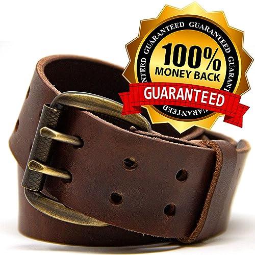 382c6726339 Buy Logical Leather Men's Work Belt - Heavy Duty Genuine Full Grain ...