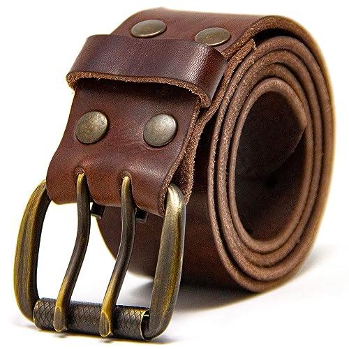 805067edd1e Logical Leather Men's Work Belt - Heavy Duty Genuine Full Grain Leather  Double Prong Belts