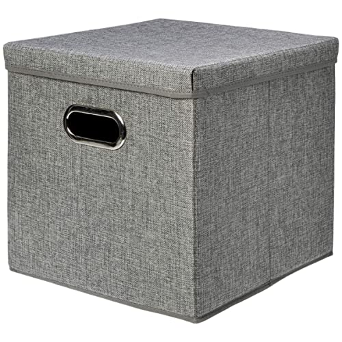 Living Room,Khaki,2 Packs Zonyon Storage Bin with Lid Entryway Fabric Foldable Storage Cube Box,Closet Organizer,Nursery Hamper Basket with Handle for Home Office Bedroom Playing Room